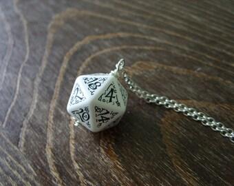 D20 dice pendant D20 jewelry elf dice pendant elvish d20 dice black white inscriptions elvish runes dark elf tolkien fantasy pathfinder dice