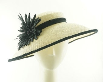 Vintage Style BOATER Hat / Wide Brim Straw Hat / Handmade by Marcia Lacher Hats