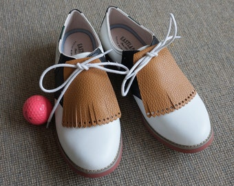 Luggage Tan KILTIE TASSEL FRINGE - Womens Golf Shoes - Oxford Shoes  Women - Lace Up Shoes - Vintage Style Shoes - Cheerleading Shoes