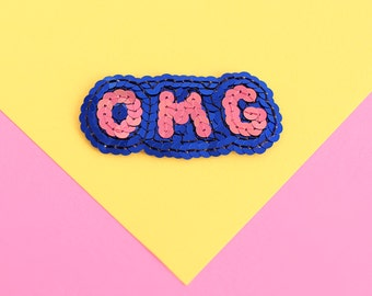 OMG Sequin Patch -  Navy & Pink