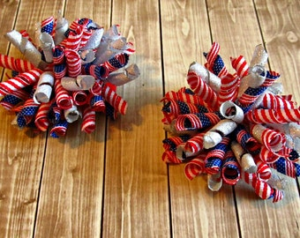 Girls Fourth of July Corker Bows- Set of 2- Baby Bows- Toddler Bows- Patriotic Bows- Pigtail Bows