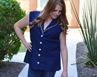 70s Nautical Blouse Navy Blue and White Button Down Blouse Short Sleeve 70s Clothing Epsteam