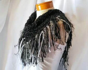 Black  triangle scarf Cowl neck Ribbon yarn shawlette Knit scarf Silver fringe Fashion scarflette Evening wear party Tribal bib scarf
