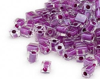 4mm clear color lined purple square beads, Miyuki # SB243, 20 grams, approx. 208 beads. Summer, beach, tropical, school color, Mardi Gras