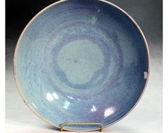 Ceramic and pottery stoneware bowl, handmade, blue chun glaze, wheel thrown coffee table bowl