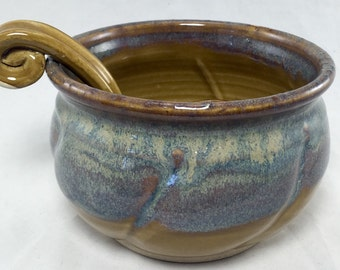 Handmade Ceramic Salsa Bowl With Ladle