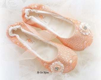 Ballet Flats, Peach, Blush, Gold, Wedding Flats, Elegant Wedding, Ballet Slippers, Wedding Reception, Mother of the Bride, Shoes, Lace up