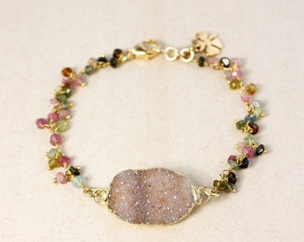 ON SALE Brown Druzy and Rainbow Tourmaline Bangle – Four Leaf Clover Charm