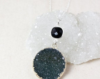 50% OFF Black Onyx and Druzy Pendant Necklace – Choose Your Druzy – 925 Sterling Silver