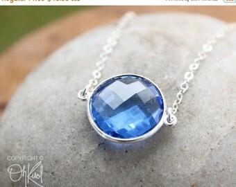 CLEARANCE SALE London Blue Quartz Double Connector Necklace - Sterling Silver