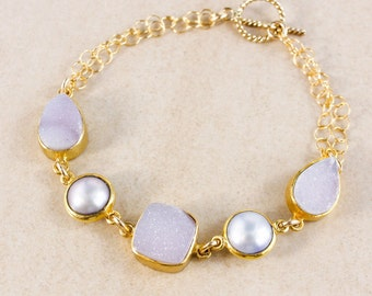 50% OFF SALE - Freshwater Button Pearl Bracelet – Druzy – 14K Gold Filled