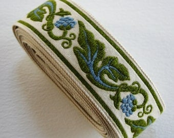 Vintage Upholstery Trim Blue and Green Leaf Berry Motif 5m