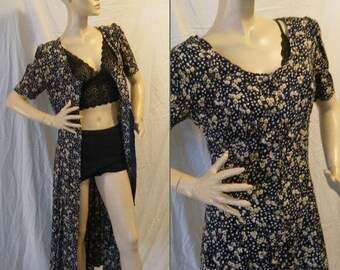 Vtg 90s Ditsy Floral dress Duster button Up Medium