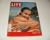 Vintage Life Magazine February 11 1957 - Swimmer at Jamaican Resort Cover - Art Scrapbooking Paper Ephemera Vintage Ads Collectible
