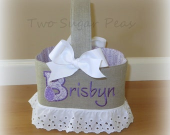 Linen Easter Basket Personalized Easter Basket Custom Easter basket with or without Lace Ruffle Easter Bucket