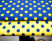 Quilt Fabric Craft Cotton Half Yard Scandinavian Big Polka Dot in Chic Yellow and Blue Tone