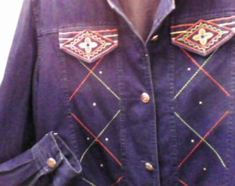 Jeans Jacket Soft Well Made SW Design with Rhinestones on each side, Morgan Cole, Large