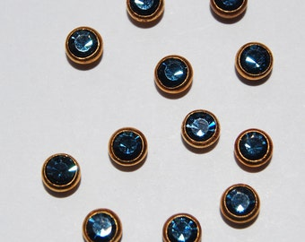 Swarovski Montana Blue 12 Bezel Set Rhinestones 17ss 4mm Brass
