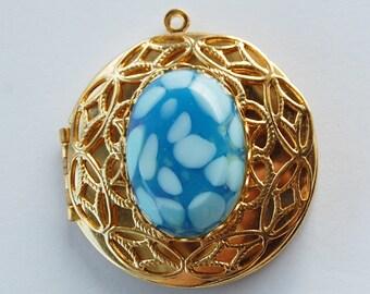 Vintage Brass Circle Locket Pendant Blue & White Spotted Glass Cabochon