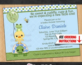 Pond Pals Baby Shower Invitations / duck frog turtle friends neutral boy boys girl / Personalized DIGITAL INVITATION Design# 069