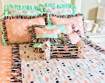 Ritzy Baby Pink Stag and Feathers Bedding Collection, Pink, Mint, Black and White Full-Queen Duvet
