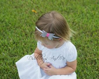 Leather Bow Headband, Baby Headband, Flower Girl Headband, Black White And Pink Bow Headband, Headband For Girls, Bow Headband, Photo Props,