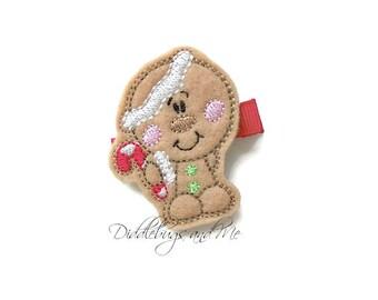 Gingerbread Hair Clip, Christmas Hair Clips, Candy Cane Gingerbread Hair Clip, Holiday Hair Clips For Girls, Happy Gingerbread Hair Clip