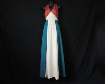70s rust goddess dress tri-tone stripe halter festival gown XS small