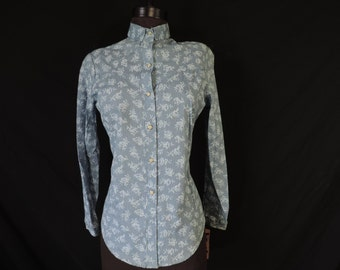 blue rose pearl snap blouse western shirt 70s women's floral top turtle bax medium large new old stock