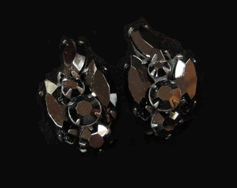 Black Rhinestone Earrings in Japanned Setting