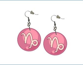 Zodiac Earrings Capricorn Dangle Earrings Astrology Earrings Zodiac Symbol Capricorn