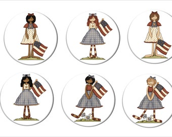 Primitive American Girls with Flag Refrigerator Magnets   2 1/4 inches in diameter Retro Folk Style Fridge Magnets