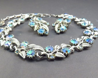 Floral Necklace and Earring AB Rhinestone Set Vintage 1950s Choker Necklace Set - FREE Domestic Shipping