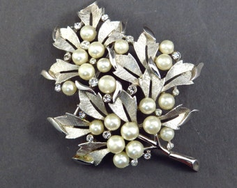 Crown Trifari Faux Pearl and Rhinestone Brooch Vintage 1950s Stunning Signed Broach