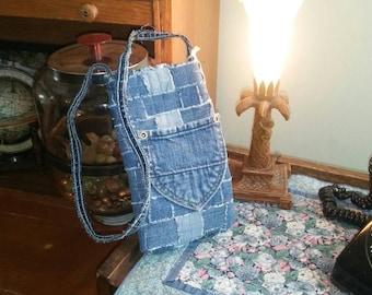 Recycled denim jean handmade cell phone purse