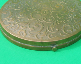 Large Fifth Avenue REX Ornate Brass Make-Up Mirror Compact / 1930's