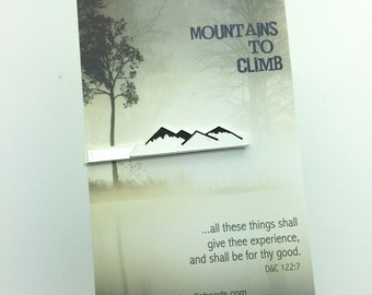 "Mountain Tie Clip, Silver Mountain Bar Tie Bar, choose carded ""Mountains to Climb..."" or in a gift box, men's accessories, tie accessory"