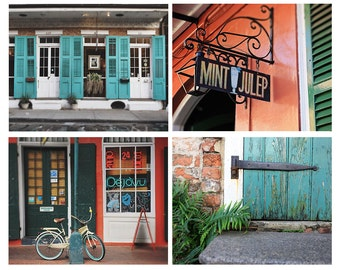 """Collection of Four 8x10"""" or 11x14"""" New Orleans Photographs, 20% Savings, Travel Prints, Affordable Home Decor, French Quarter Wall Art"""