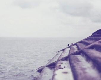 "Landscape Photography ""Seawall"" Affordable Fine Art Print. Lake Pontchartrain, Dreamy, Water, Waves"