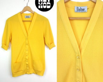 Cute Vintage 60s Mod Bright Yellow Shirt-Sleeve Cardigan with Pockets!