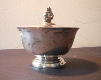 Small Silver Plate Sugar Bowl  with Lid -  1930s piece - for display - shower gift - shabby chic - Paul Revere Reproduction