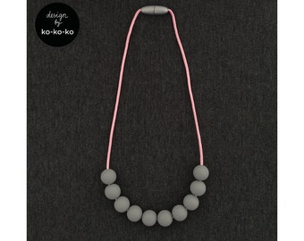 Silicone Necklace for Kids (GREY on pink cord)