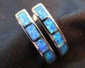 """Hoop Stud  Earrings 1"""" Blue  Australian Opal Sterling SIlver"""