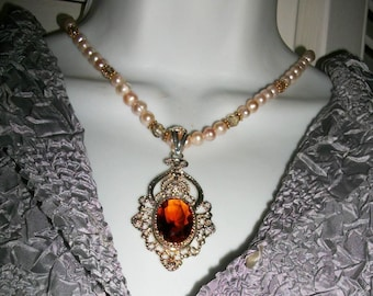 Boho Necklace Sterling silver  Honey Topaz  Pendant  FW Pearls