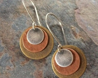 Mixed Metal Disc Earrings, Silver, Copper and Brass