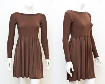 SALE Pirouette Chocolate Brown Boat Neck Long Sleeve Babydoll Mini Dress