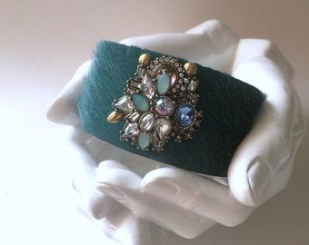 "leather cuff bracelet  - dark teal hair on hide with vintage inspired brooch - 1.5"" wide"