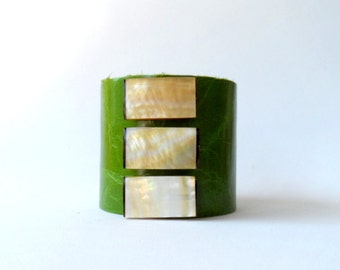 "leather cuff bracelet  -grass green leather with mother of pearl pieces  - 2"" wide"