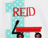 Boys, Little Red Wagon Birthday Shirt or Bodysuit, Wagon Birthday Shirt, Any Age, Made to Match Personalized Invitation, Girls or Boys