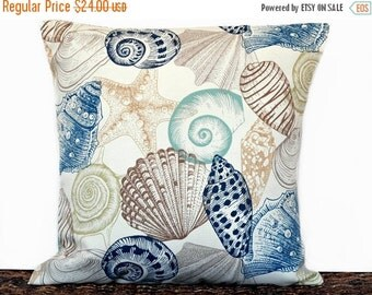 Christmas in July Sale Seashells Pillow Cover Outdoor Cushion Coastal Navy Blue Brown Tan Beige Aqua Lime Green Starfish Beach Decorative 18